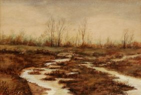 E. L. Edwards (20th Century) Marshland, Watercolor,