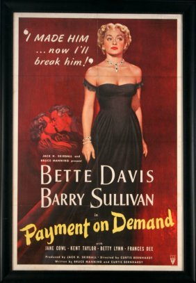 'Payment On Demand' Vintage Movie Poster, 1951.