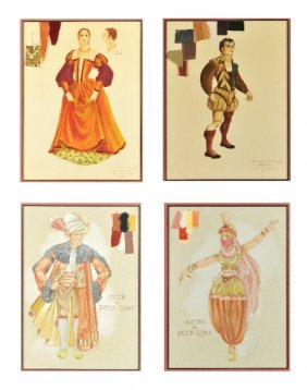A Group Of Four Framed Costume Illustrations,