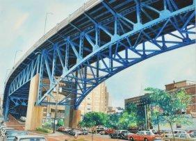 Bruce McCombs (b.1943) Cleveland Flats, Watercolor