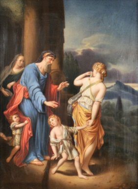 A KPM Porcelain Painted Plaque Of Hagar And Ishmael