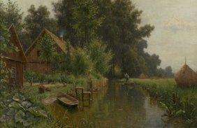 Walter Moras (1854-1925) River Landscape With Cottag