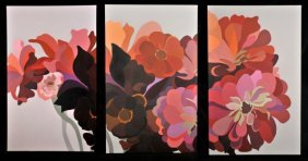 Laura Grosch (b.1945) Dahlias And Zinnias Triptych,