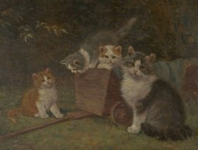 Benno K�gl (1892-1973) Cat With Kittens, Oil On Board,