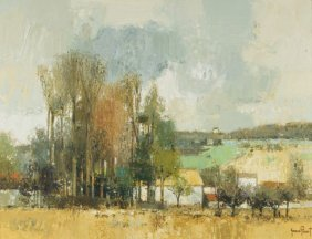 Gerard Passet (b. 1936) French Landscape, Oil On Canvas