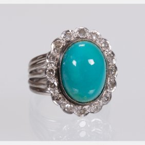 A 14kt. White Gold, Turquoise And Diamond Ring,