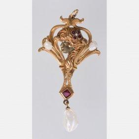 An Art Nouveau Style 14kt. Yellow Gold, Garnet And