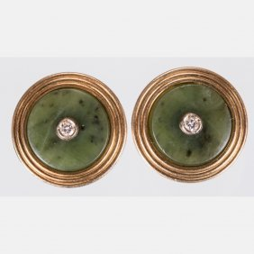 A Pair Of 14kt. Yellow Gold, Jade And Diamond