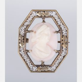 A Silver And Shell Cameo Brooch.