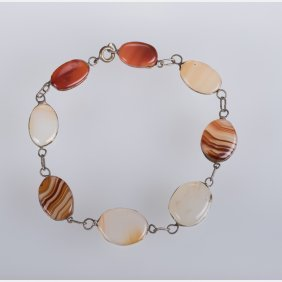 A Silver And Agate Bracelet.