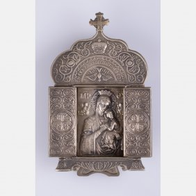 A Russian Orthodox Silver And Pewter Travel Skladen