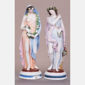 A Pair Of Continental Porcelain Figures Depicting