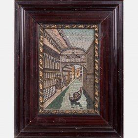An Italian Micro-mosaic Plaque Depicting A Venetian