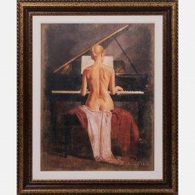 Tomasz Rut (b. 1961) Nude Female Playing The Piano,