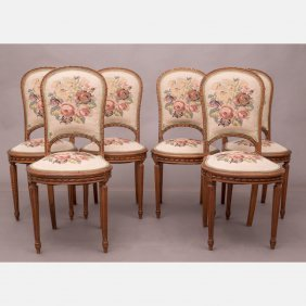 A Set Of Six Louis Xvi Mahogany Dining Chairs, 20th