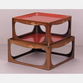 Two Japanese Lacquered Bundai Tables, Showa Period.