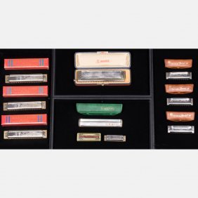 A Collection Of Nine Vintage Harmonicas By M. Hohner's,
