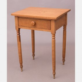 An American Tiger Maple Single Drawer Table, 19th