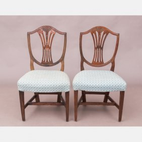 A Pair Of Hepplewhite Mahogany Side Chairs, 18th