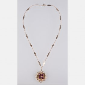 A 14kt. Yellow Gold, Amethyst And Diamond Pendant With