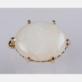 A 14kt. Yellow Gold And Opal Brooch,