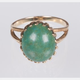 An 18kt. Yellow Gold And Turquoise Ring,