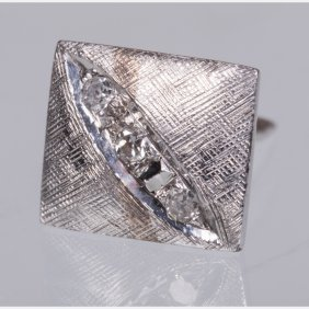 A 14kt. White Gold And Diamond Melee Tie Pin,