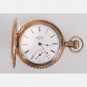 An Elgin 14kt. Yellow Gold Pocket Watch, 20th Century.