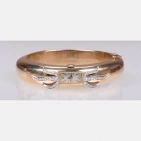 A Ladies 14kt. Yellow And White Gold, Diamond Armand