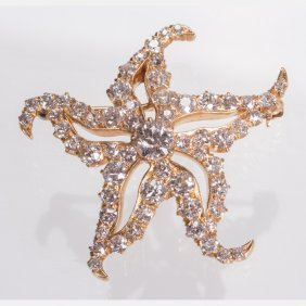 An 18kt. Yellow Gold And Diamond 'starfish'