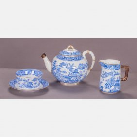A Royal Worcester Three Piece Porcelain Service In The