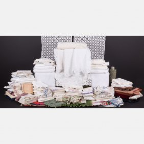 A Miscellaneous Collection Of Vintage Linens And