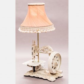 A Vintage Sewing Machine Mounted As A Table Lamp, 20th