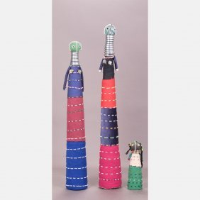 A Group Of Three African Beaded Fertility Dolls, 20th
