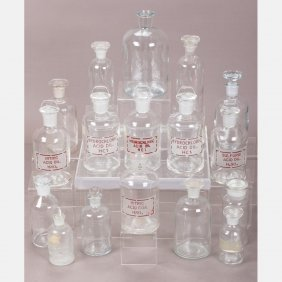 A Collection Of Eighteen Glass Stoppered Chemical