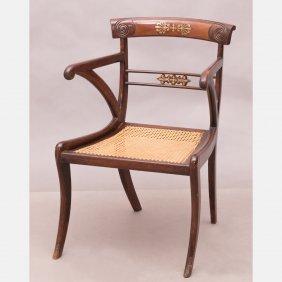 A Regency Mahogany Armchair With Caned Seat, 19th