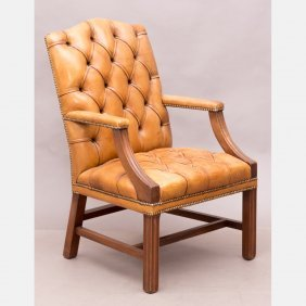 A Georgian Style Mahogany And Tuft Upholstered