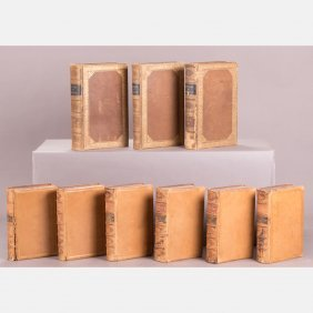 A Collection Of Decoratively Bound Leather Books, 19th