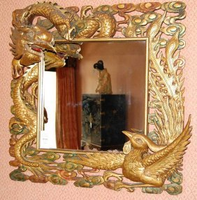 Ornate Gilt Dragon Motif Mirror