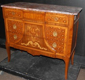 CUSTOM INLAID MARBLE TOP COMMODE