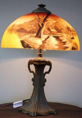 VINTAGE PHOENIX REVERSE PAINTED TABLE LAMP
