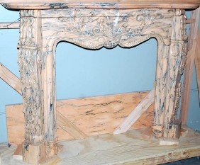 FRENCH STYLE CARVED MARBLE MANTEL