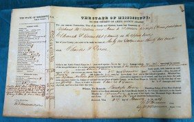 LOT OF 4 MISSISSIPPI COURT DOCUMENTS FROM 1840's