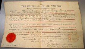 1889 BENJAMIN HARRISON SIGNED LAND DEED