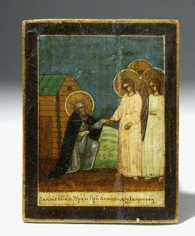 19th C. Near Mini Russian Icon - St. Alexander Svirsky