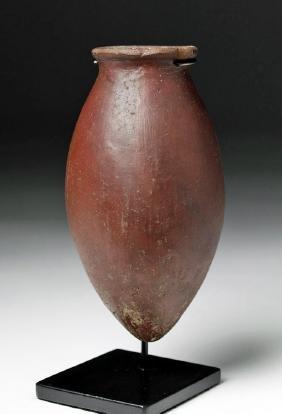 Egyptian Pre-Dynastic Redware Teardrop Acorn Vessel