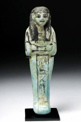 Egyptian Blue Faience Ushabti W/ Painted Glyph Band