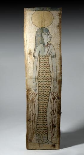Egyptian Ptolemaic Painted Sarcophagus Panel W/ Nut