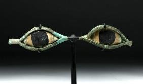 Egyptian Bronze / Stone Mummy Mask Eyes