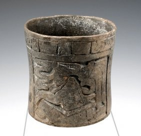 Pre-Columbian Mayan Carved Cylinder